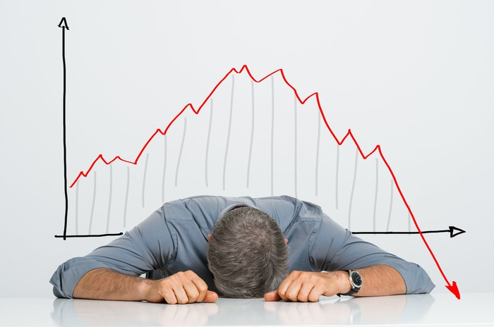 A frustrated man lays his head on the table with a downward-sloping red chart arrow in the background.