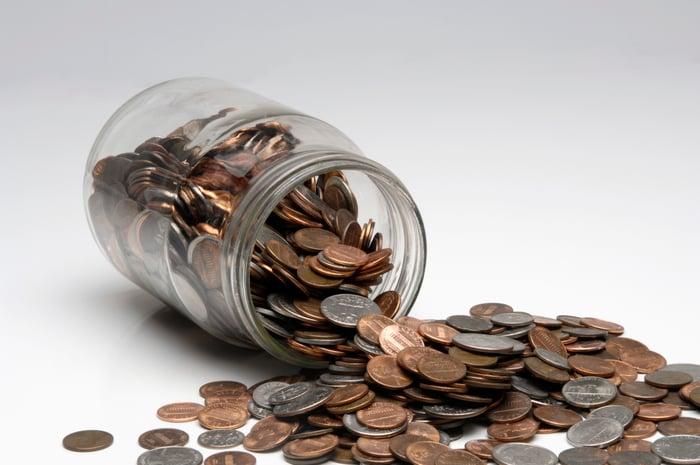 Spilled change jar