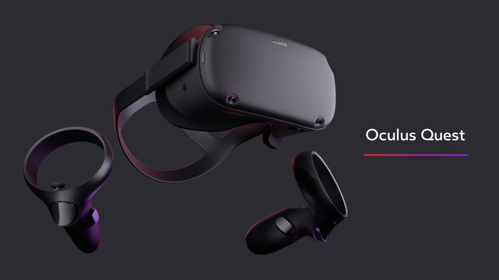 The Oculus Quest VR headset with handheld controllers.