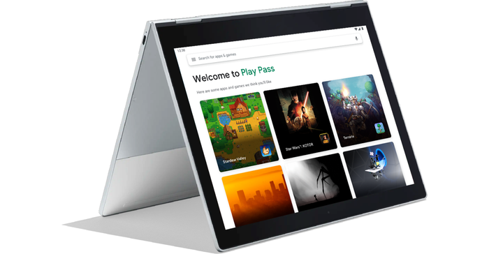 Play Pass interface displayed on an Android tablet