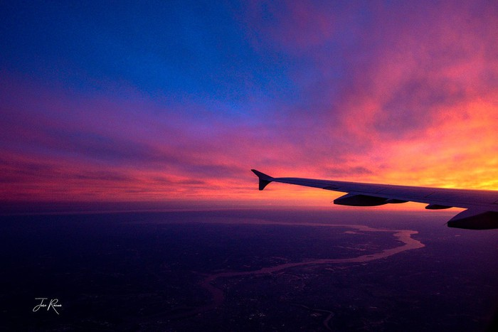 Aircraft winglet at sunrise.