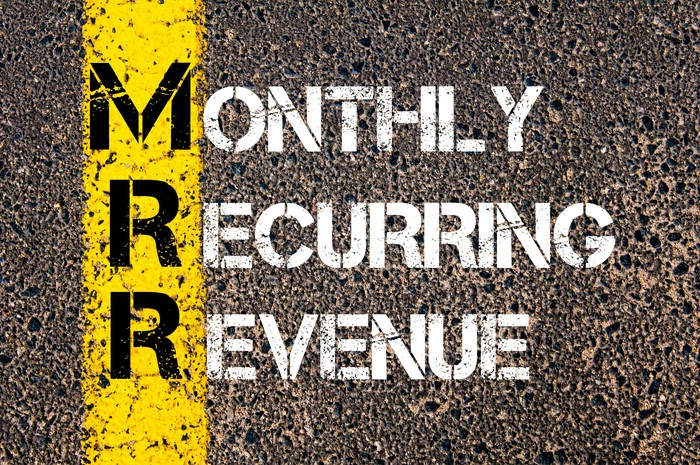 The words monthly recurring revenue are painted on pavement.