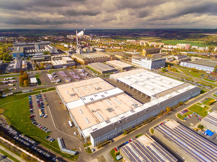 aerial view of manufacturing plant site
