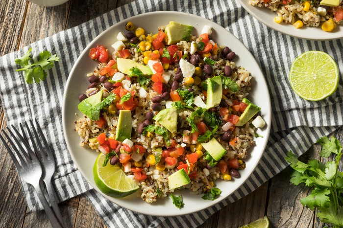 A bowl of fresh Mexican-inspired food.