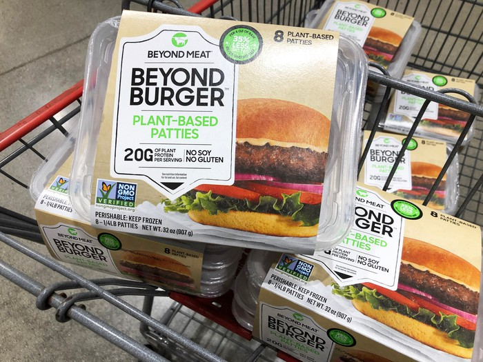 Beyond Meat packages in a Costco shopping cart