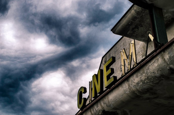 Abandoned movie theater sign