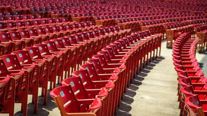 Empty seats at a stadium