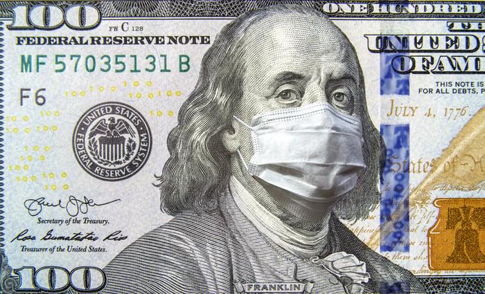 Un billet de 100 $ sur lequel Ben Franklin porte un masque sur le nez et la bouche.