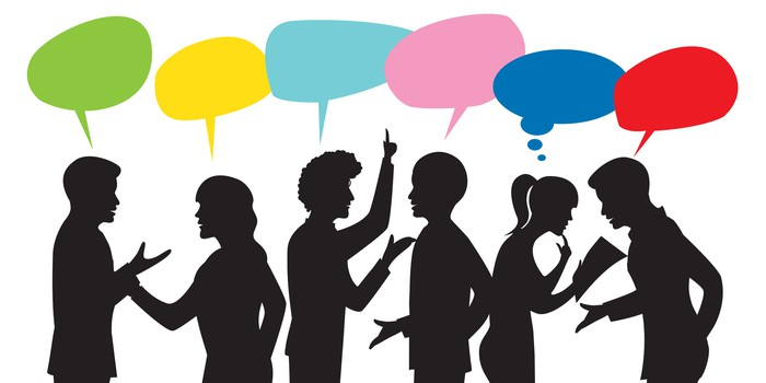 Cartoon image of people talking.