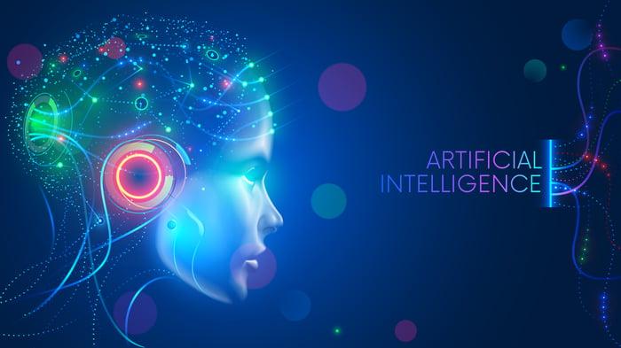 A visualization of an AI brain inside a human-shaped head.