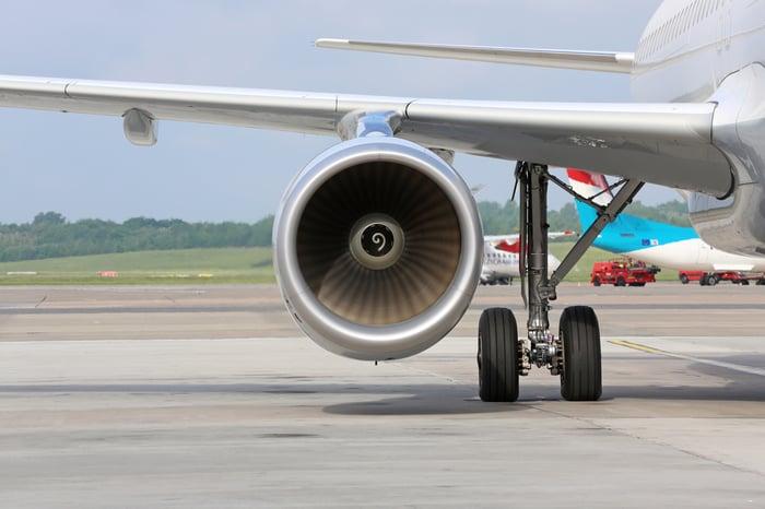 An aircraft engine.