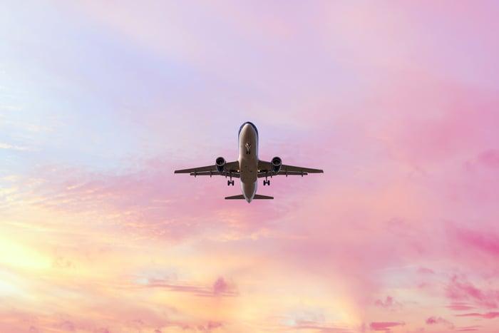 An aircraft in flight.