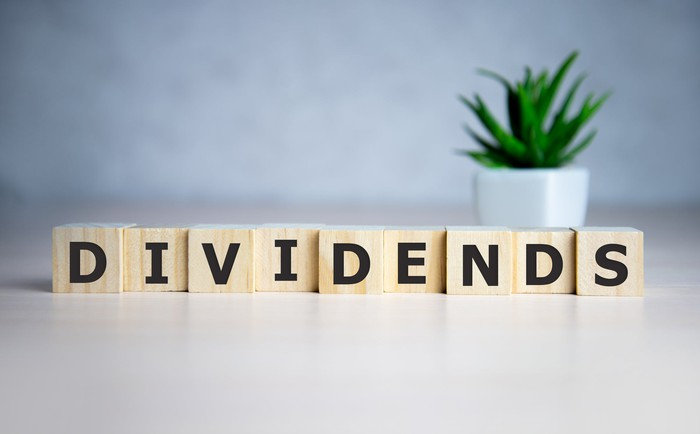 """The word """"dividends"""" spelled out in cube dice and a small plant in the background."""