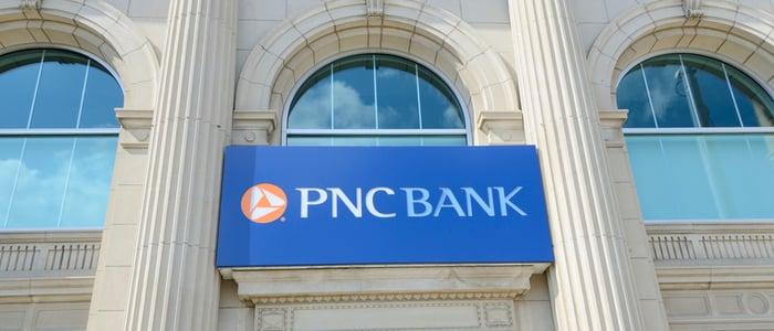 The facade of a PNC bank branch.