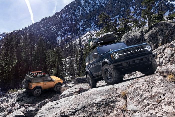 2-door and 4-door versions of the 2021 Ford Bronco in a rocky landscape