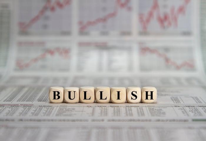 """Letter blocks spelling the word """"bullish."""""""