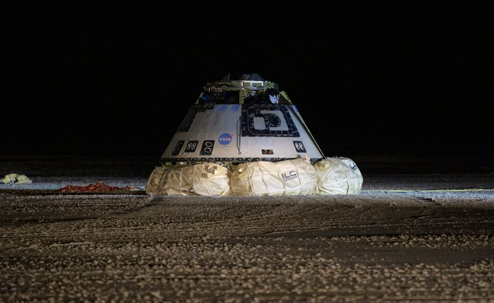 Boeing Starliner crew capsule after landing at White Sands post-OFT.