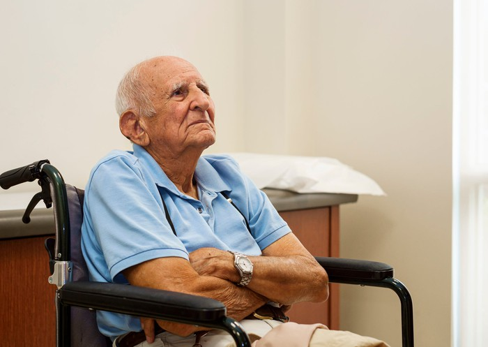 Older man with arms crossed in wheelchair