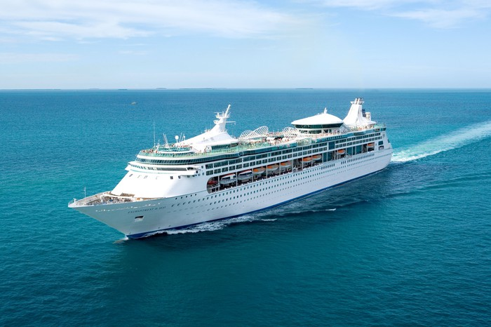 The Royal Caribbean-owned Enchantment of the Seas sailing through open ocean