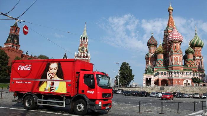 Coca-Cola delivery truck in Red Square.