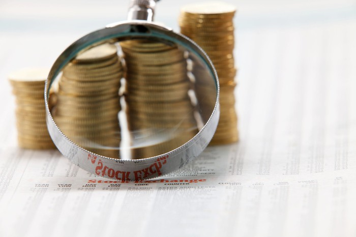 A magnifying glass laid against multiple stacks of coins that are seated atop a financial newspaper.