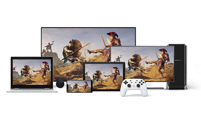 """Assassin's Creed Odyssey"" running on Google Stadia across multiple platforms."