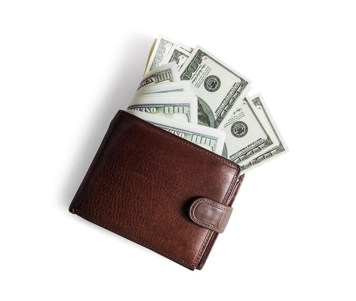 Wallet full of cash.