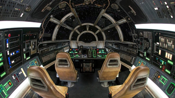 An empty cabin on the Millennium Falcon: Smugglers Run ride at Disney's Hollywood Studios