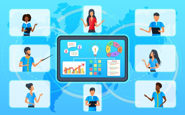 Image of a virtual team working together on a software project.