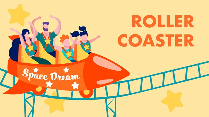 Cartoon shows a rocket shaped roller coaster labeled SPACE DREAM