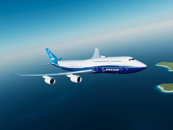 A Boeing 747 airplane in flight
