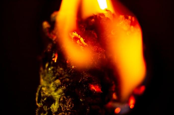 A marijuana bud on fire.