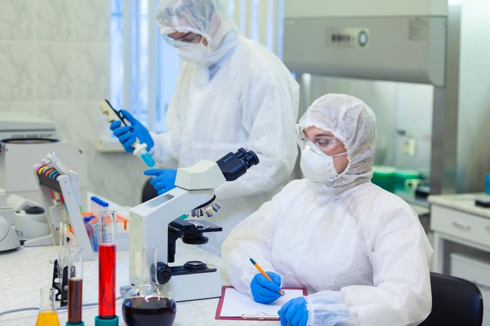 Scientists with masks working in lab.