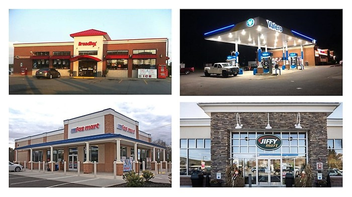 four images of various convenience store storefronts owned and operated by GPM Investments are combined into one image.
