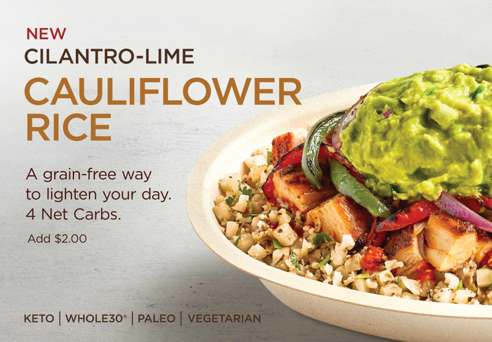 An ad from Chipotle shows the new cauliflower rice.