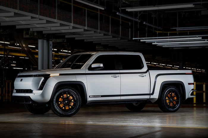 The prototype Lordstown Endurance, an electric pickup truck.