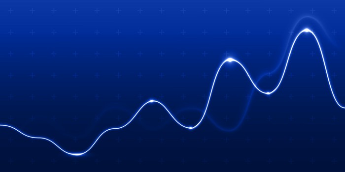 A white line graph on a dark blue background.