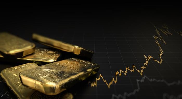 An assortment of gold ingots next to a rising chart.
