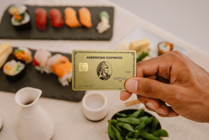 A hand holds an American Express gold card above a table full of food.