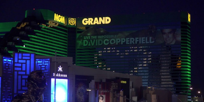 The MGM Grand resort in Las Vegas is seen from the street at night.