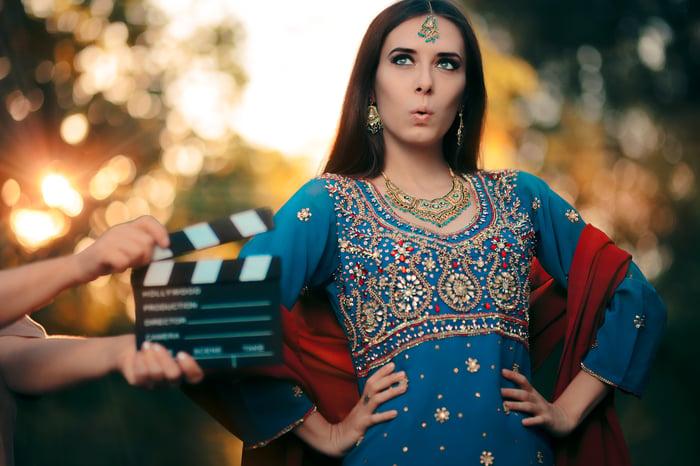 Indian actress on set