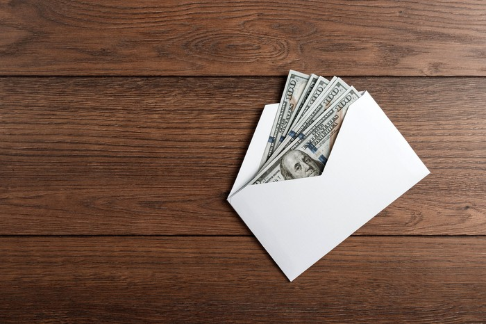 Cash bonus in an envelope.