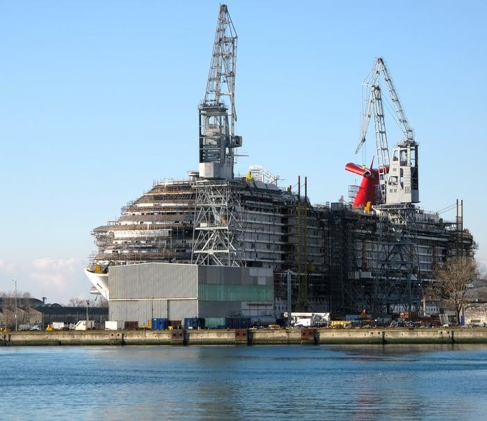A cruise ship in a shipyard.