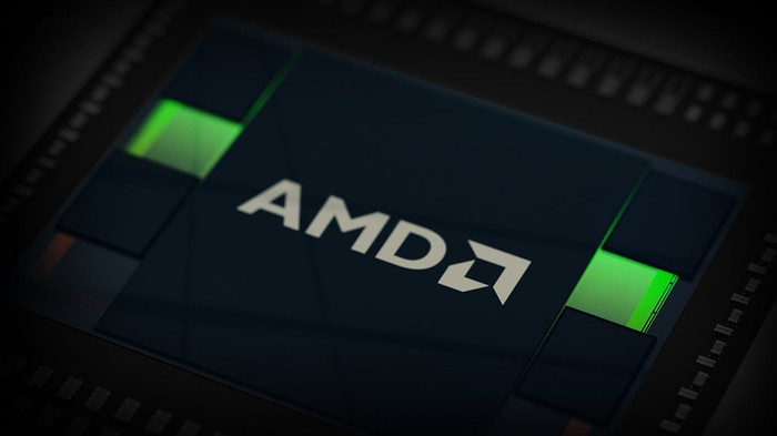The AMD logo on a chip.