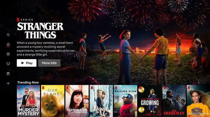 A content screen for Stranger Things on Netflix