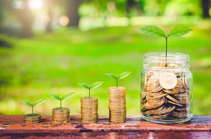 Progressively larger stacks of coins with leaves sprouting at hte top of each column