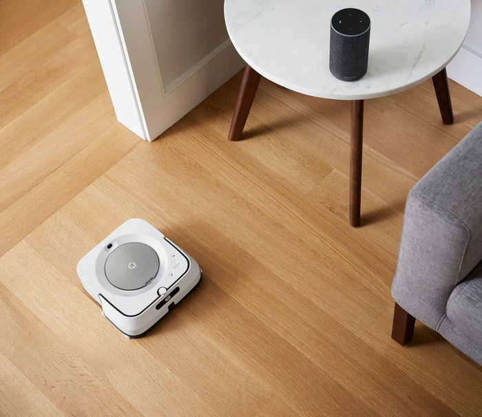 A Braava robot mop in action.