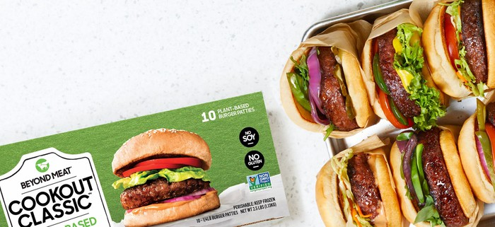 A pack of Beyond Meat burger patties.
