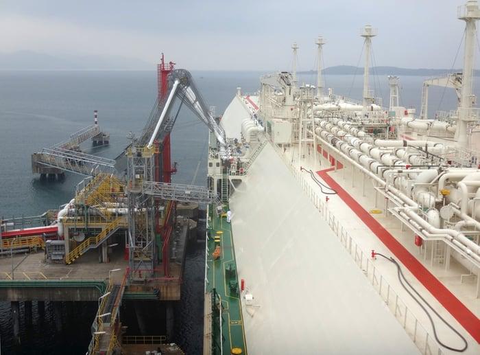 Cargo ship taking on LNG.