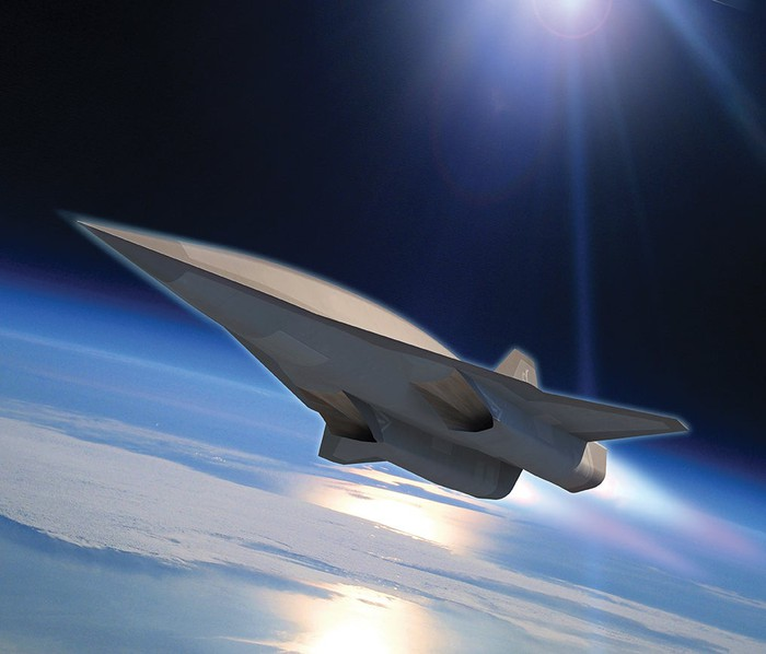 Illustration of Skunk Works-designed hypersonic spy plane in orbit.
